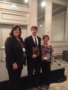 Fall 2016 Emerging Curriculum Award Recipient Dr. Patrick Crain with AASCD President Ashley Catrett and Awards Chair Lisa Beckham