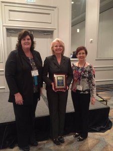 2016 Outstanding Curriculum Leader Award Recipient Cheryl Morrow with AASCD President Ashley Catrett and Awards Chair Lisa Beckham